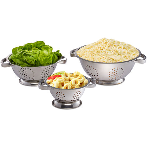 Relaxdays Colanders Set of 3 Noodle Strainers, Sieve Ø 15 cm, 20 cm & 25 cm, Stainless Steel, Handles, Silver