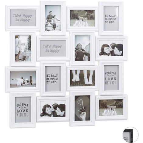 Relaxdays Collage Multi Picture Frame, 16 Photos, Pictures 9x13cm ,Vertical & Horizontal, HxW 70x70 cm, White