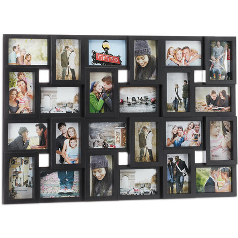 Relaxdays Collage Multi Picture Frame, 24 Photos, Pictures 9x13cm ,Vertical & Horizontal, HxW 57x85 cm, Black