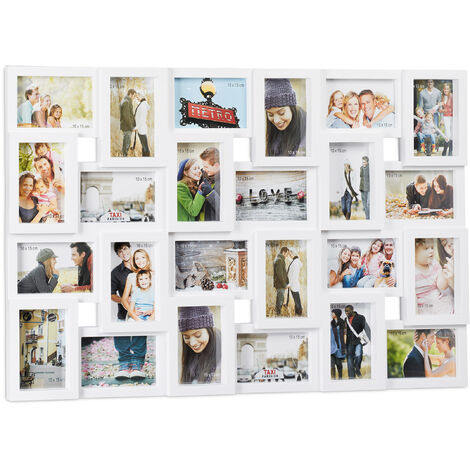 Relaxdays Collage Multi Picture Frame, 24 Photos, Pictures 9x13cm ,Vertical & Horizontal, HxW 57x85 cm, White