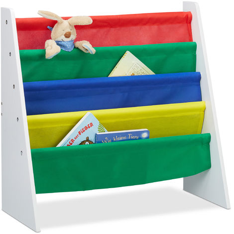 Relaxdays Colourful Bookcase for Children, Toy Storage Organiser Shelf, MDF+Polyester with 4 Fabric Covers
