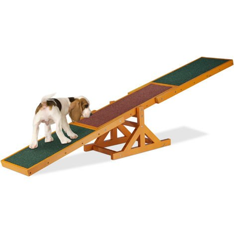 Relaxdays Colourful Wooden Pet Seesaw for Big and Small Dogs, Equipment for Agility and Obedience Training, 54 x 180 x 30 cm