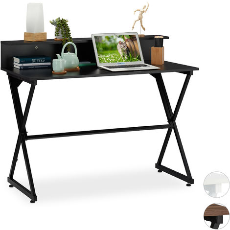 Relaxdays Computer Desk, Additional Storage Stand, Extra Compartments, HxWxD: 90 x 110 x 55 cm, Black