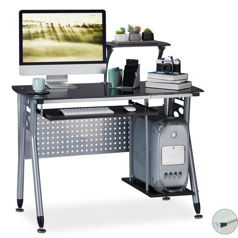Relaxdays Computer Desk Glass, Keyboard Tray & Shelf For Desktop PC, HWD: 98 x 105 x 55 cm, Modern Office, Black