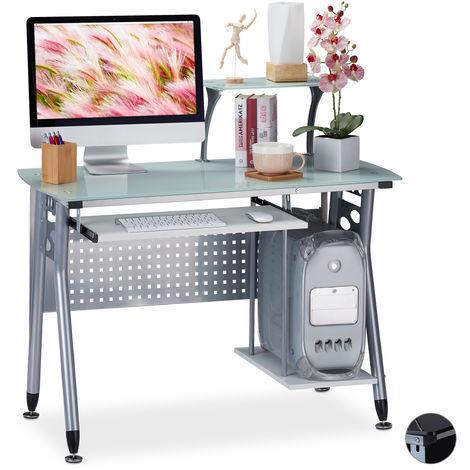 Relaxdays Computer Desk Glass, Keyboard Tray & Shelf For Desktop PC, HWD: 98 x 105 x 55 cm, Modern Office, White