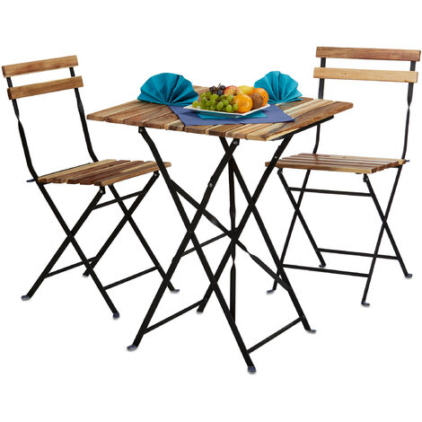 Conjunto de muebles de jardín, madera natural, 3 piezas, plegable, set bistro, mesa 76 x 60 x 60 cm, colores naturales