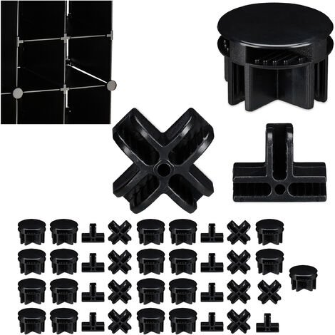 Relaxdays Connectors for Modular Shelving Units, Set of 40, 3 Different Types, Spare Parts, Black