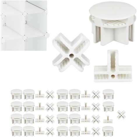 Relaxdays Connectors for Modular Shelving Units, Set of 40, 3 Different Types, Spare Parts, White
