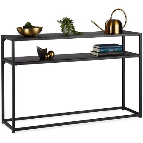 """main image of """"Relaxdays Console Table, 2 Tiered, Made Of Metal & MDF, Space-saving, Narrow Hallway Table, 70 x 110 x 30 cm, Black"""""""