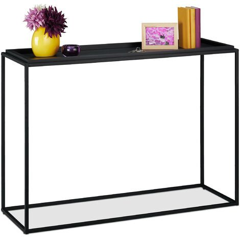 Relaxdays console table, hallway sideboard, 38x110x80 cm (LxWxH), narrow side unit, living room or entrance hall, black