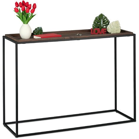 Relaxdays console table, hallway sideboard, industrial style, 38x110x80 cm (LxWxH), narrow side unit, living room, black