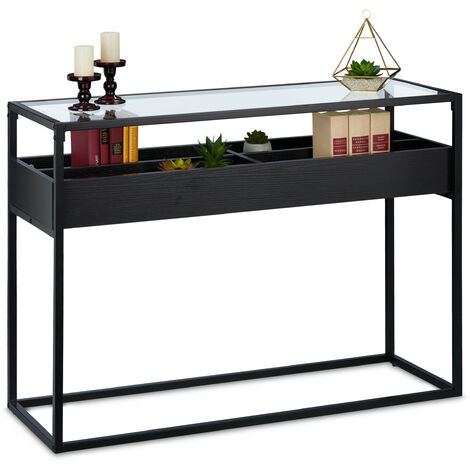 Relaxdays console table, hallway sideboard with 4 compartments, 40x110x80.5cm (LxWxH), side unit, living room, black