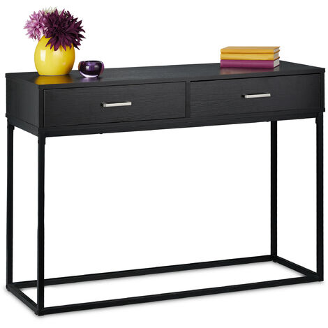 Relaxdays console table, hallway sideboard with two drawers, 40x110x80 cm (LxWxH), narrow side unit, living room, black