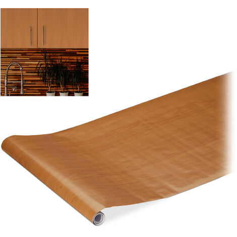 Relaxdays Contact Paper, Decorative Surface Sticker Roll, Self-Adhesive Paper, PVC, 45x200 cm, Brown Wood Effect