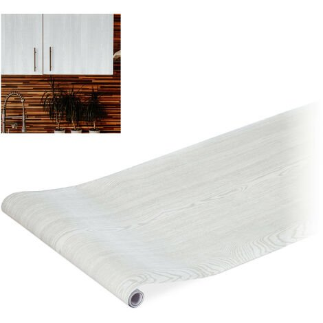 Relaxdays Contact Paper, Decorative Surface Sticker Roll, Self-Adhesive Paper, PVC, 45x200 cm, White Wood Effect