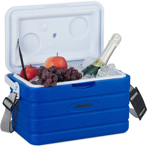 Relaxdays Cool Box 10L, Portable Cooler for Garden, Camping, Strap & Handle, No Power, HWD 22.5 x 37.5 x 23 cm, Blue