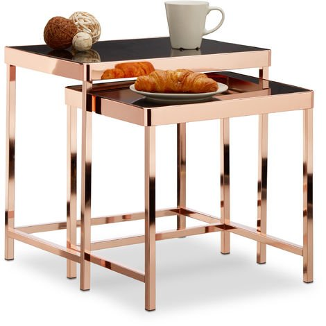 Relaxdays COPPER Set of 2 Side Tables, Glass Tabletops, Black Mirrored Glass, 2 Small Nesting Tables, Modern Accent Tables, Copper