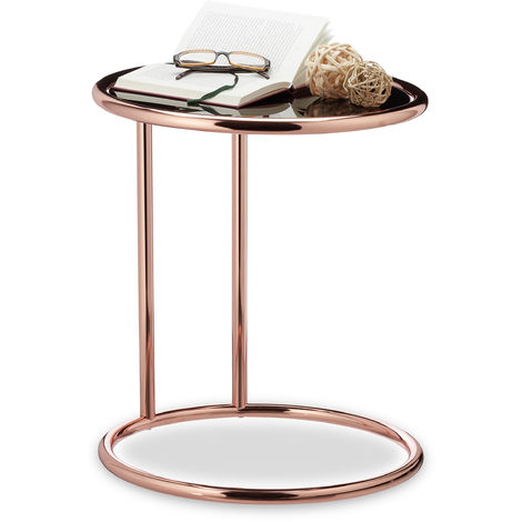 Relaxdays Copper Side Table, Black Glass Tabletop, Round Coffee Table, Glass Stand, H x D: 52 x 45 cm, Copper