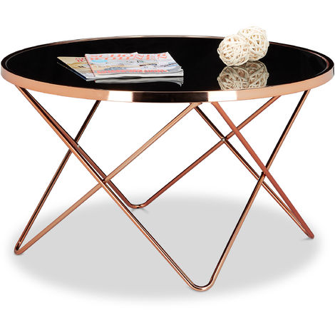 Relaxdays COPPER Side Table made of Copper and Black Glass, Size: 49 x 85 x 85 cm Modern Curved Table with Glass Surface, Copper-Coloured