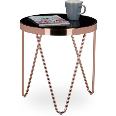 Relaxdays Copper Side Table Made Of Copper And Black Glass Small Coffee Table Size 46 X 42 X 42 Cm Modern Curved Table With Glass Surface Copper Coloured 7100204147438