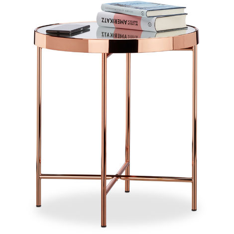 Relaxdays Copper Side Table, Mirrored Glass, End Table, Elegant, Modern, HxWxD: 46 x 42 x 42 cm, Copper