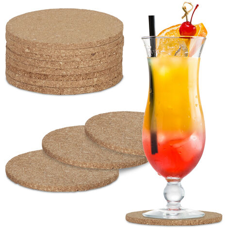 Relaxdays Cork Coasters Set of 12, Non-Slip Absorbent Table Protectors, Round Glass Stands, 10 cm Ø, Natural