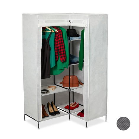 Relaxdays Corner Canvas Wardrobe 3rd Generation, 8 Tiers, 2 Rails, Plug-In System, 169 x 100 x 83 cm, Different Colours