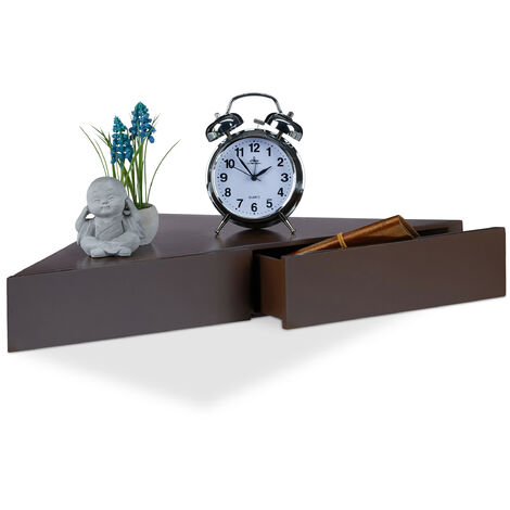 Relaxdays Corner Floating Shelf, Triangular Bookcase, 2 Drawers, Invisible Fixture, MDF, HWD 8x60x30cm, Brown