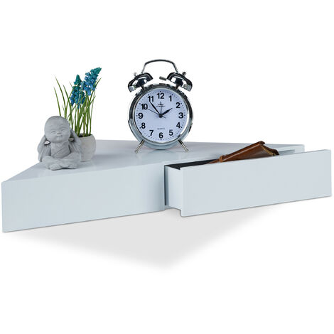 Relaxdays Corner Floating Shelf, Triangular Bookcase, 2 Drawers, Invisible Fixture, MDF, HWD 8x60x30cm, White