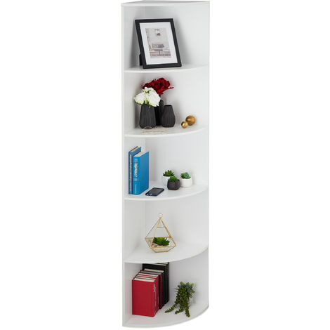 Relaxdays Corner Shelving Unit, 5 Tiers, Standing Bookcase, Deco, Plant, Living Room, Hallway, HxBxT: 180x57x40 cm White