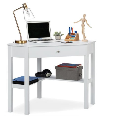 Relaxdays Corner Work Desk, Tier & Drawer, Compact, Home Office, Study, Country House Style, HxBxT: 76x107x72 cm White