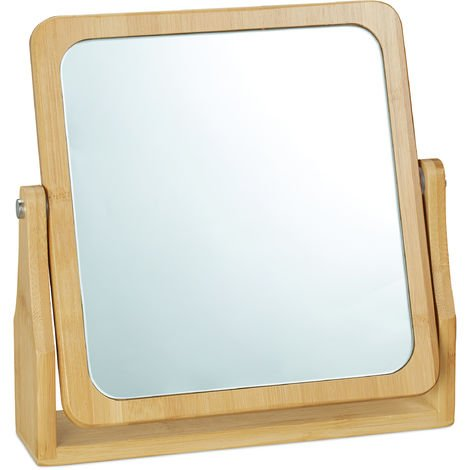 Relaxdays Cosmetic Mirror, Rotating at 360°, Angular, Freestanding, For Make-up, HWD 27x26.5x7cm, Tabletop Mirror, Bamb