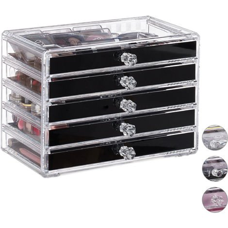 Relaxdays Cosmetic Organiser with 5 Drawers, Acrylic, Dresser for Makeup & Jewellery, Protective Liners, Black