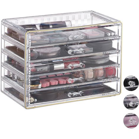 Relaxdays Cosmetic Organiser with 5 Drawers, Acrylic, Dresser for Makeup & Jewellery, Protective Liners, Clear-Gold
