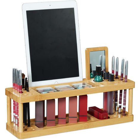 Relaxdays Cosmetic Organizer with Mirror, Bamboo, Make-up Holder, HWD 20.5x36x10 cm, 17 Compartments, Natural