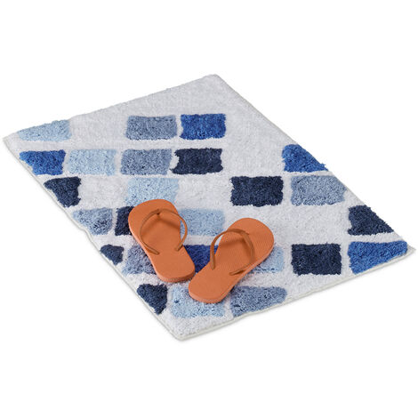 Relaxdays Cotton Bath Mat, Non-slip Shower Rug, Washable, Rectangular, 50 x 80 cm, Bathmat, White/Blue