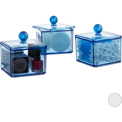 Relaxdays Cotton Swab Storage Box Set of 3, Lidded, Cotton Pads, Cosmetic Organisers, Blue