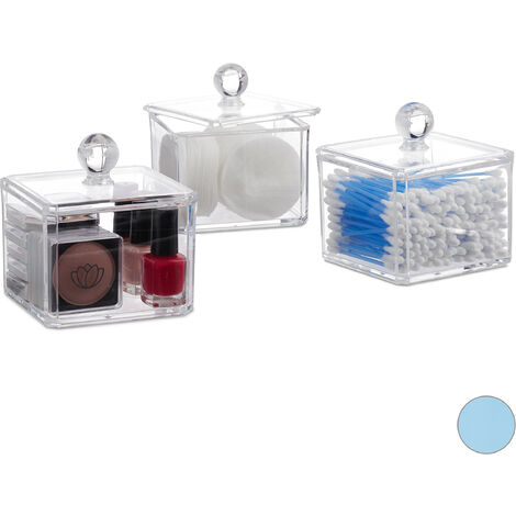 Relaxdays Cotton Swab Storage Box Set of 3, Lidded, Cotton Pads, Cosmetic Organisers, Clear