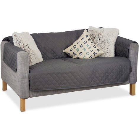 Relaxdays Couch Cover, Throw, No Pet Hair or Stains, 2-Seater, Gray