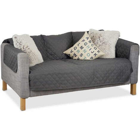 Relaxdays Couch Cover, Throw, No Pet Hair or Stains, 3-Seater, Gray