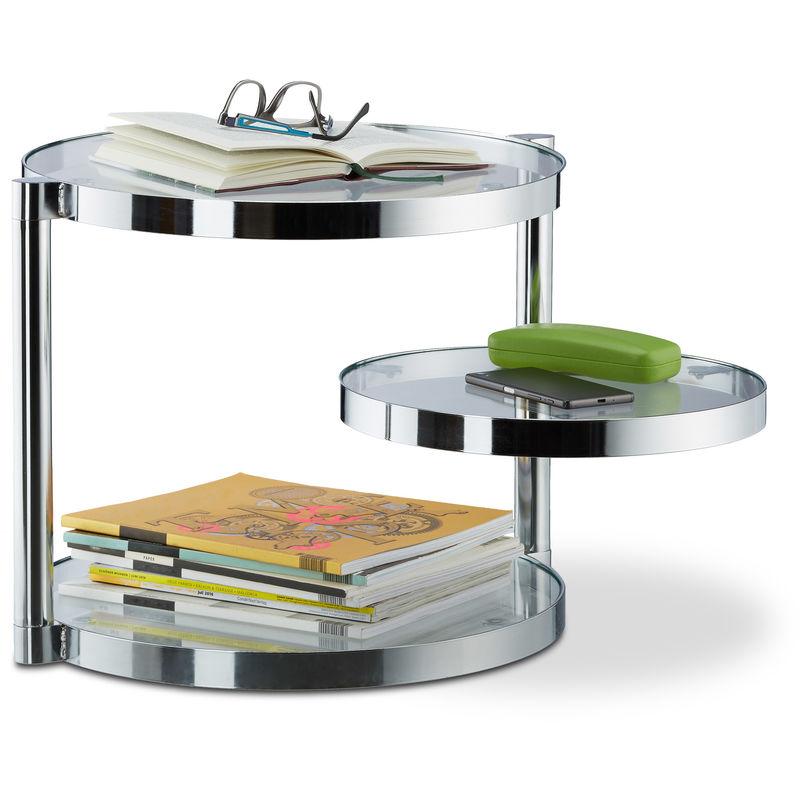 Relaxdays - Couchtisch aus Glas mit schwenkbarer Ablage, 3 runde Platten, Beistelltisch HxBxT: ca. 39 x 52 x 45 cm, silber