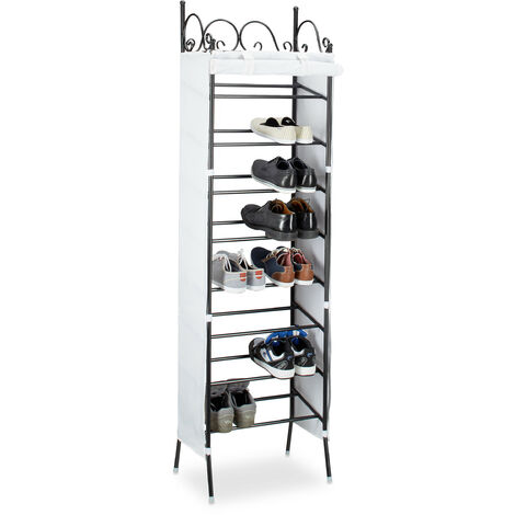Relaxdays COUNTRY Metal Shoe Rack 174 x 48 x 29 cm, 8 Shelves for 20 Pairs of Shoes, Fabric Cover, Black-White