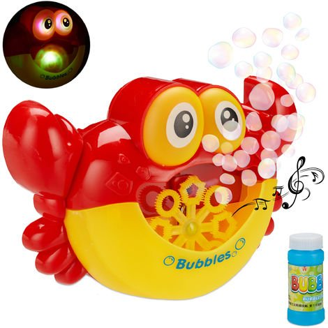 Relaxdays Crab Bubble-Making Machine, Music, LED-Light, Kids' Toy, Outdoor, Battery Powered, Soap Solution, Red/Yellow
