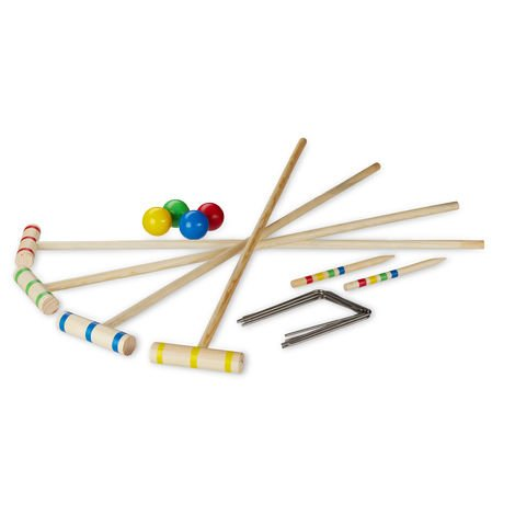 Relaxdays Croquet Game, 4 Players, Adults & Kids, Complete Set with Carrier Bag, Wooden, Mallet 75 cm, Natural