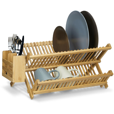 Relaxdays CROSS Dish Drainer with Cutlery Basket, Total Size: 24 x 46 x 28 cm Bamboo Dish Rack Wooden Dish Dryer Foldable Folding for Large Plates and Cups w/ Silverware Holder, Natural Brown