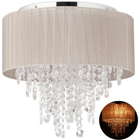 Relaxdays Crystal Chandelier, Organza Ceiling Lamp, G9 Socket, 5 Bulbs, Hanging Light, 39 x 39.5 cm, Grey/ Silver