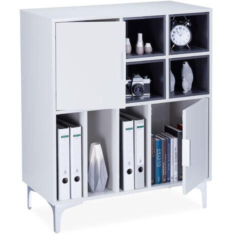 Relaxdays Cube Dresser, Side Shelf for Folders, 2 Doors, Versatile Shelving Unit, H x W x D: 95x80x40cm, Light Grey