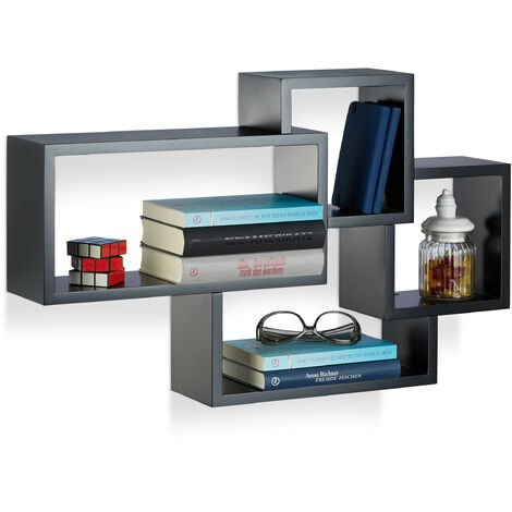 Relaxdays Cube Floating Shelf, Modern Connected Design, 4 Compartments, MDF, HWD: 42x69x12cm, Black