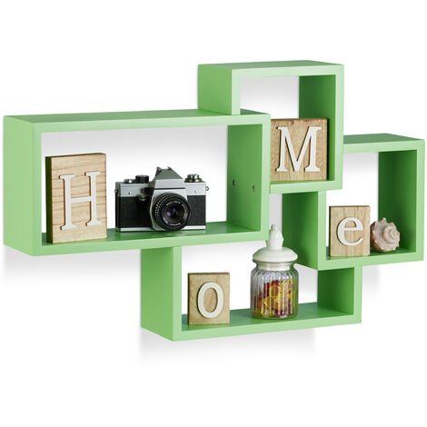 Relaxdays Cube Floating Shelf, Modern Connected Design, 4 Compartments, MDF, HWD: 42x69x12cm, Green
