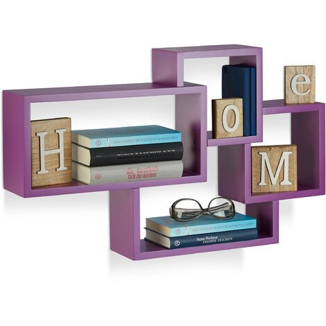 Relaxdays Cube Floating Shelf, Modern Connected Design, 4 Compartments, MDF, HWD: 42x69x12cm, Purple